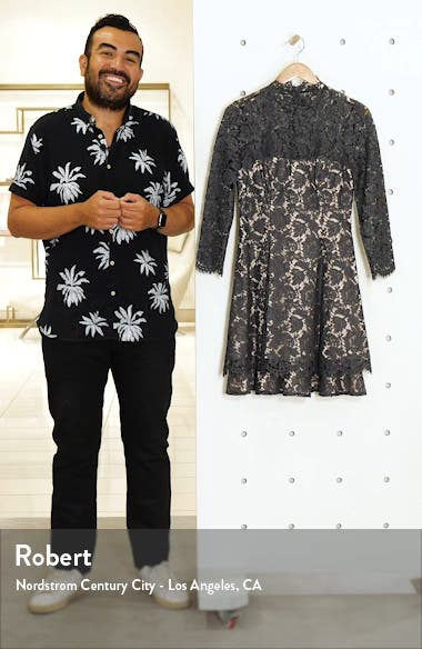 Long Sleeve Lace Fit & Flare Dress, sales video thumbnail