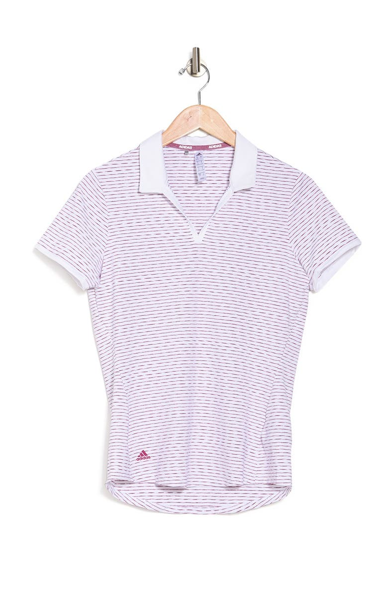 ADIDAS GOLF Ultimate 365 Space Dye Stripe Polo Shirt, Main, color, WHITE/POWER BERRY
