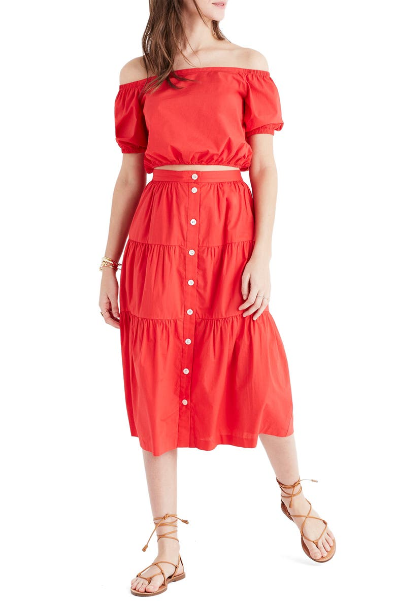 MADEWELL Bistro Midi Skirt, Main, color, TRUE RED