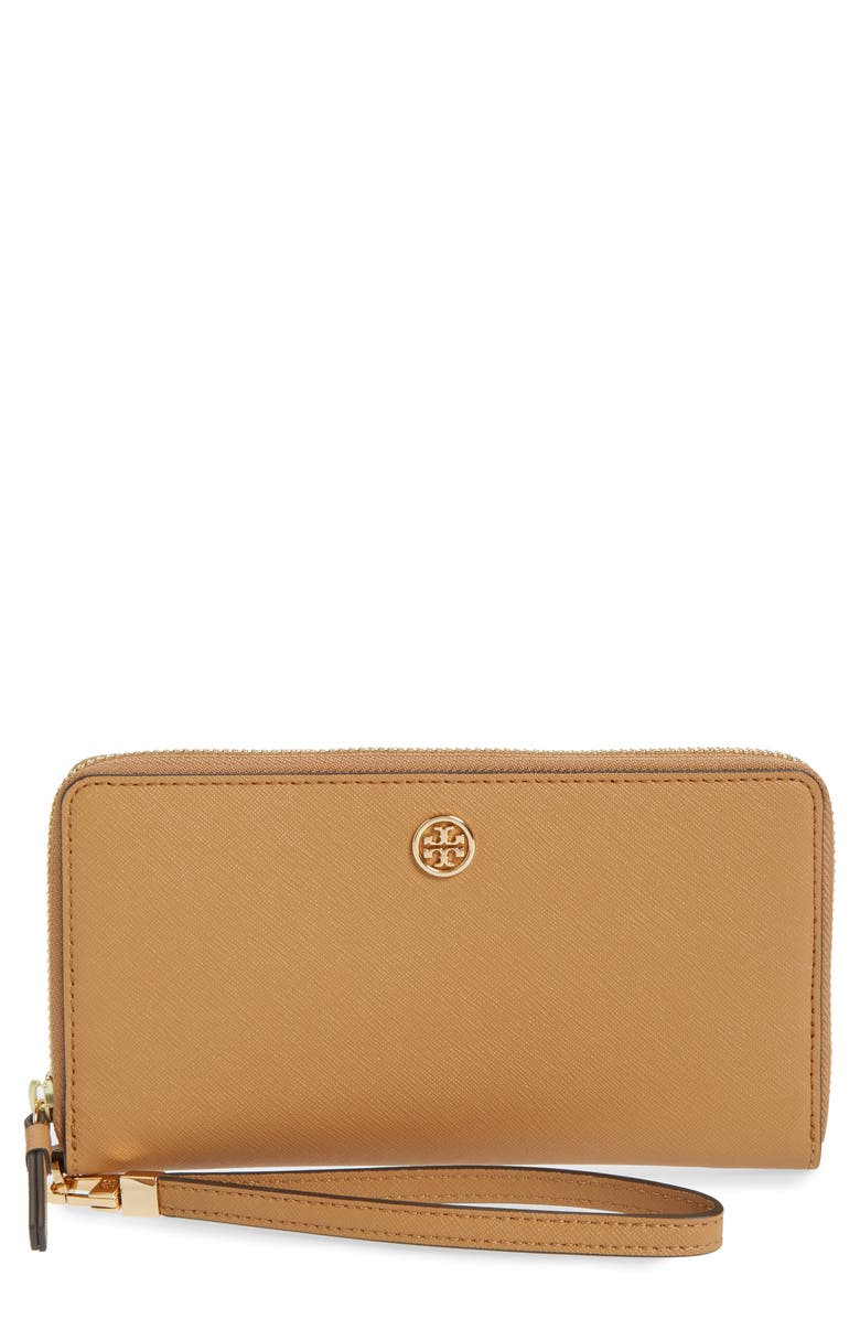 TORY BURCH Robinson Zip Leather Continental Wallet, Main, color, CARDAMOM