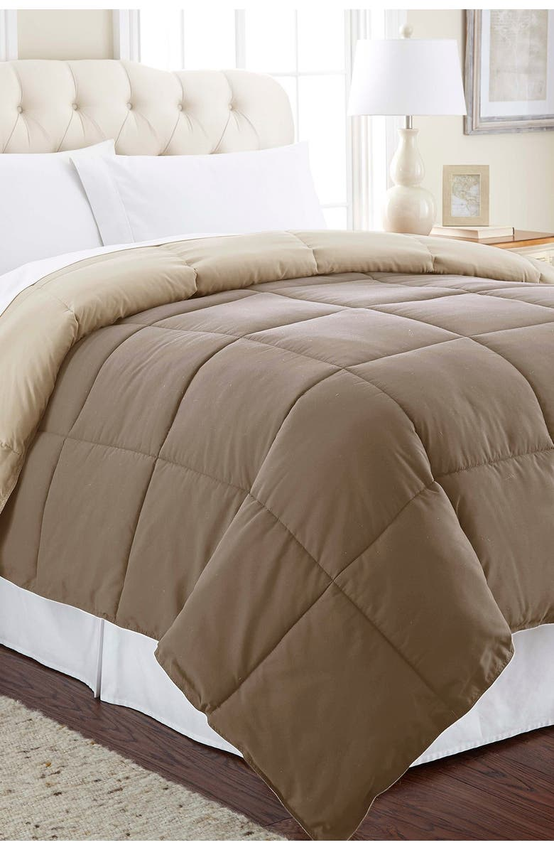 MODERN THREADS Down Alternative Reversible Twin Comforter - Stone/Champagne, Main, color, STONE/CHAMPAGNE
