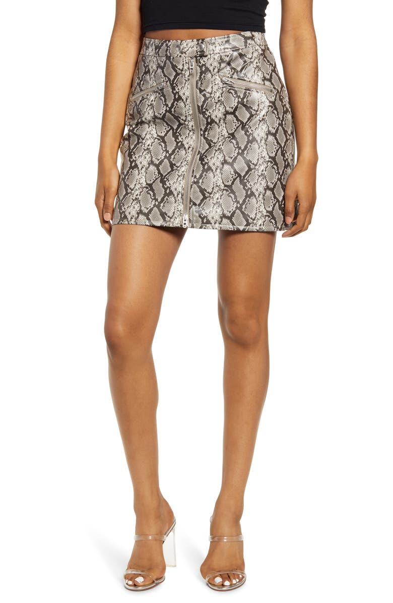 BLANKNYC Faux Leather Snakeskin Miniskirt, Main, color, 020