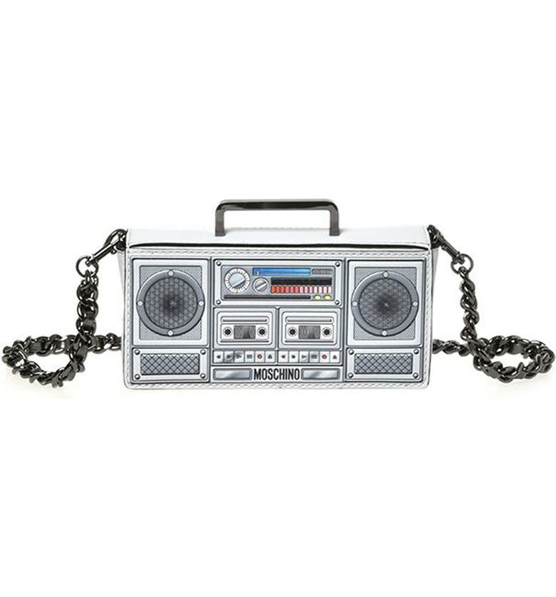 MOSCHINO Small Boombox Clutch, Main, color, Grey