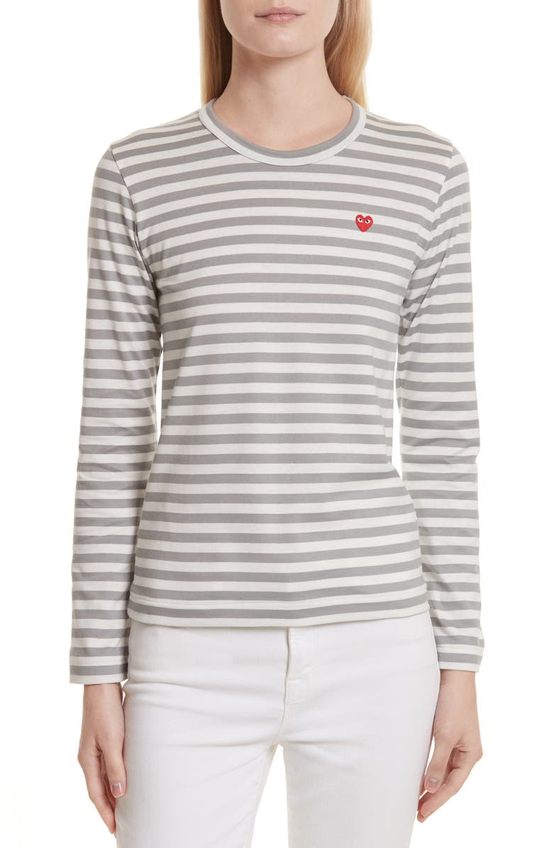 COMME DES GARÇONS PLAY Stripe Long Sleeve T-Shirt, Main, color, GREY
