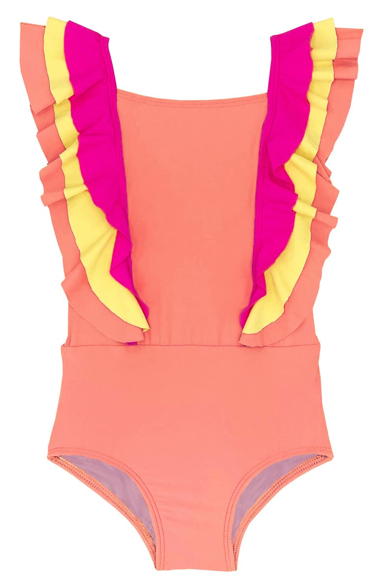BEACH LINGO Kids' Ruffle One-Piece Swimsuit, Main, color, CORAL