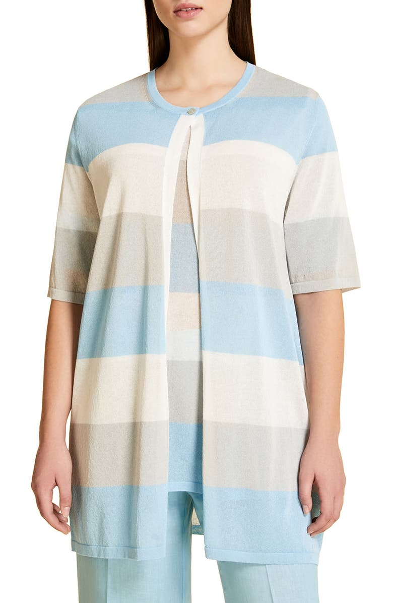 MARINA RINALDI Malaga Stripe Cardigan, Main, color, BLUE