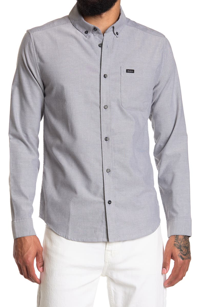 RVCA That'll Do Button-Down Shirt, Main, color, PAVEMENT