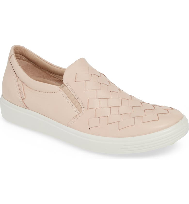 ECCO Soft 7 Woven Slip-On Sneaker, Main, color, ROSE DUST LEATHER