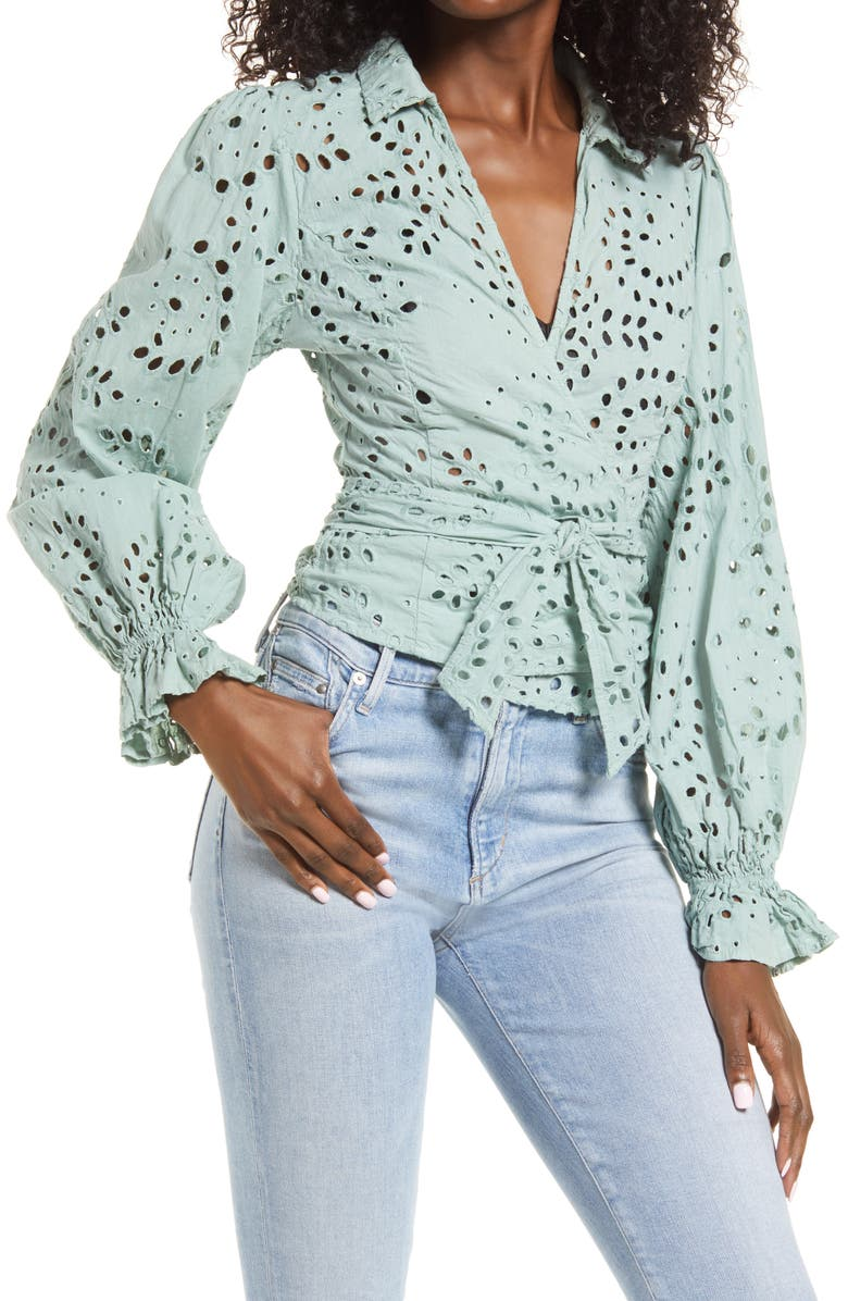 GUESS Kamy Eyelet Wrap Blouse, Main, color, MINTY MIST MULTI
