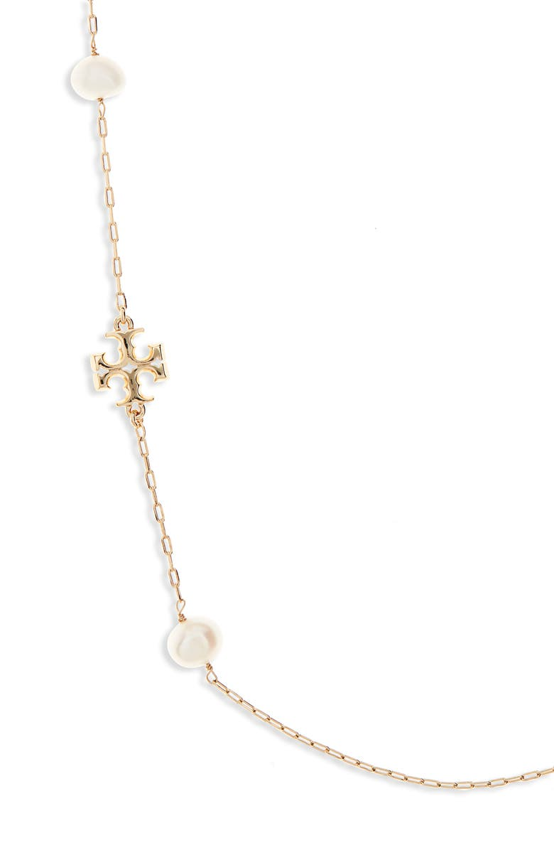 TORY BURCH Kira Genuine Pearl Station Necklace, Main, color, TORY GOLD / IVORY