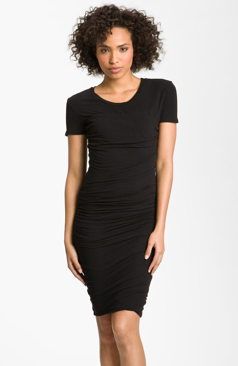 JAMES PERSE Ruched T-Shirt Dress, Main, color, Black