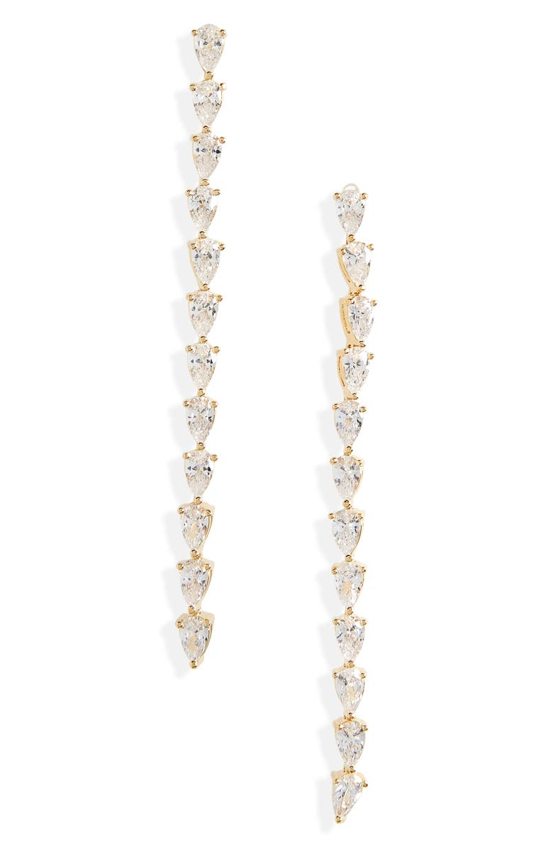 NORDSTROM Pear Cubic Zirconia Linear Earrings, Main, color, CLEAR- SILVER