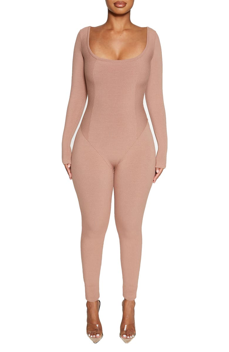 NAKED WARDROBE The Snatched Vibes Long Sleeve Jumpsuit, Main, color, COCO
