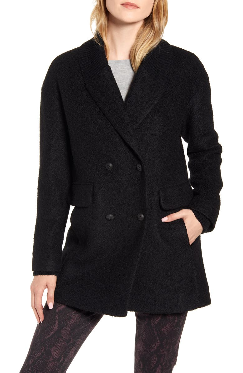KENNETH COLE NEW YORK Double Breasted Rib Trim Pressed Boucle Peacoat, Main, color, BLACK
