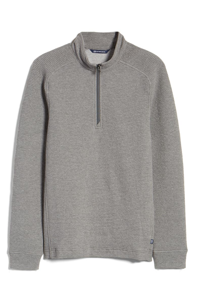 CUTTER & BUCK Coastal Ribbed Half Zip Pullover, Main, color, POLISHED HEATHER