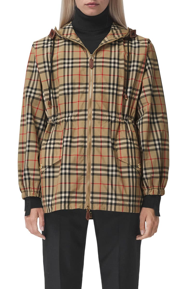 BURBERRY Binham Check Hooded Jacket, Main, color, ARCHIVE BEIGE CHECK
