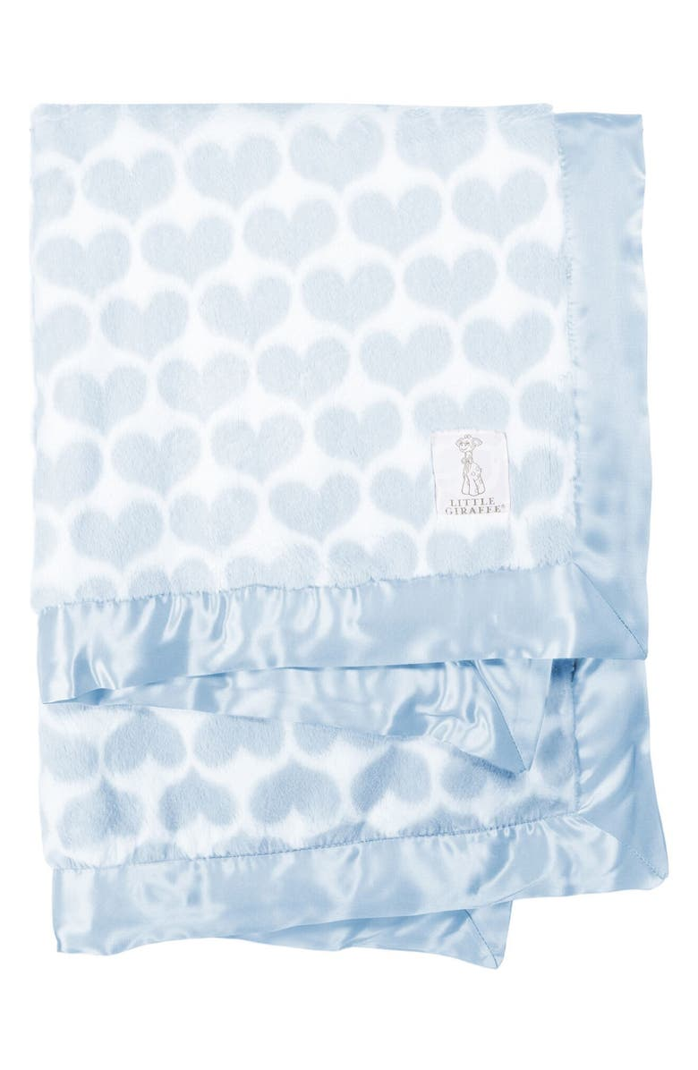 LITTLE GIRAFFE Luxe<sup>™</sup> Heart Army Faux Fur Baby Blanket, Main, color, BLUE