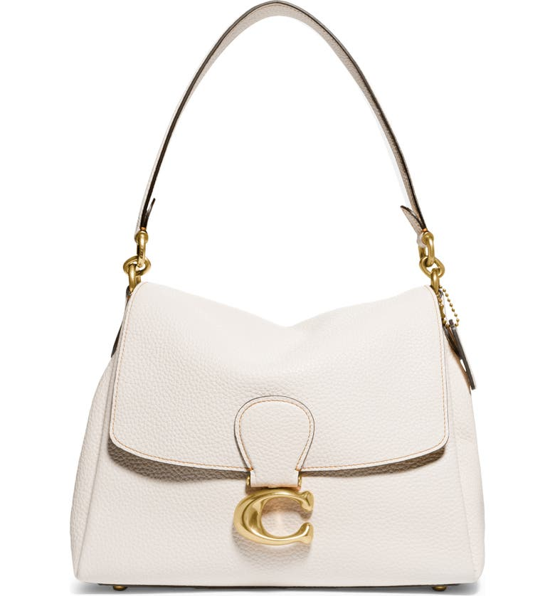 COACH May Pebble Leather Shoulder Bag, Main, color, BRASS/ CHALK