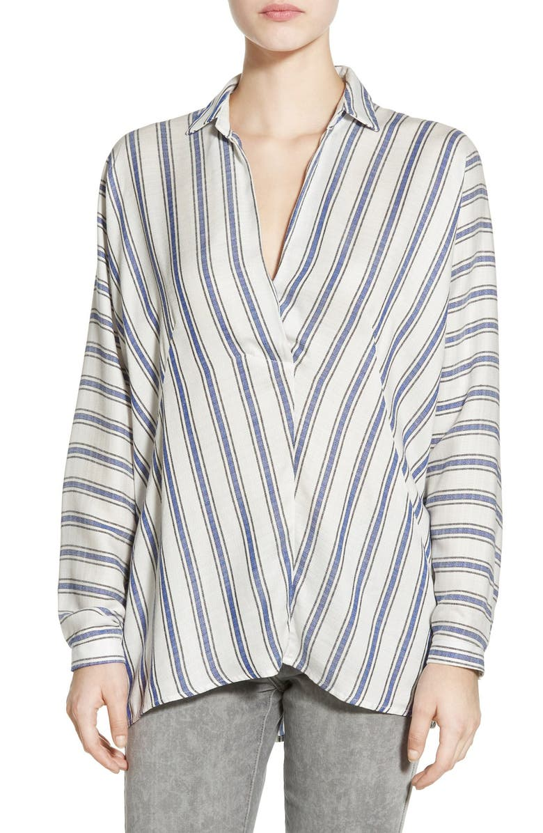 --- Stripe Back Button Shirt, Main, color, 100