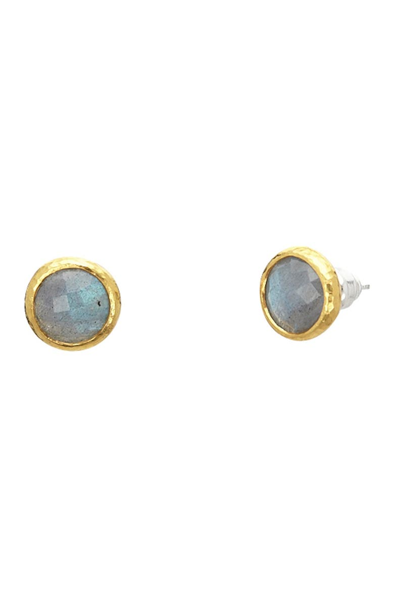 GURHAN Stud earring With Round Checkerboard Cut Labradorite, Main, color, SILVER