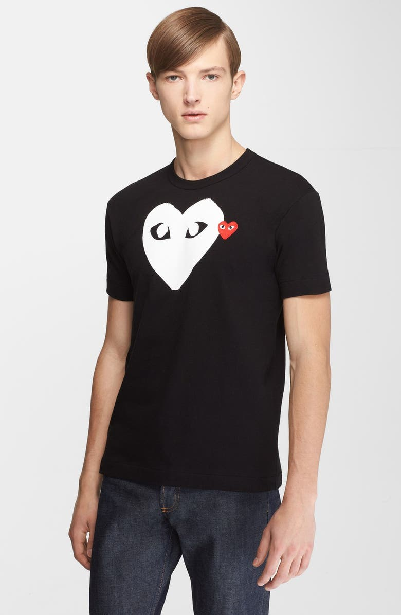 COMME DES GARÇONS PLAY X-Ray Heart Logo Graphic Tee, Main, color, BLACK