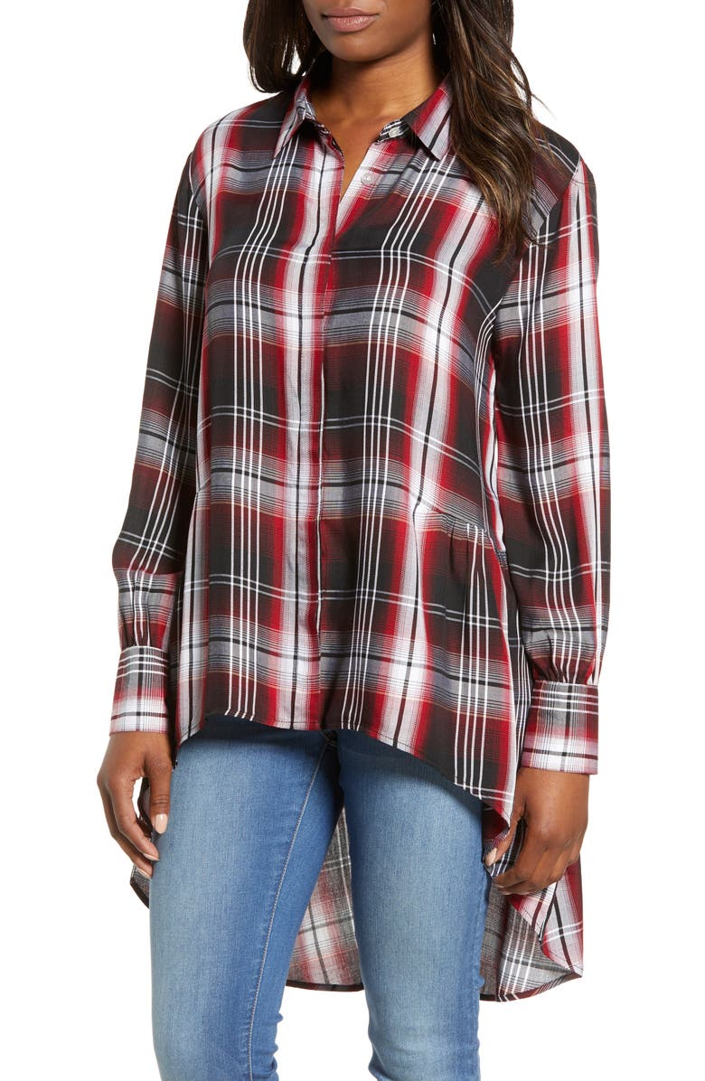 BOBEAU Plaid High Low Peplum Tunic Blouse, Main, color, 002