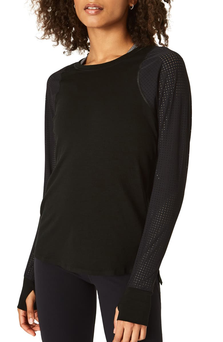 SWEATY BETTY Breeze Long Sleeve Run Tee, Main, color, BLACK