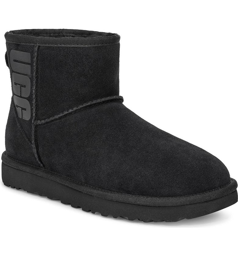 UGG<SUP>®</SUP> Mini Classic Logo Boot, Main, color, BLACK SUEDE