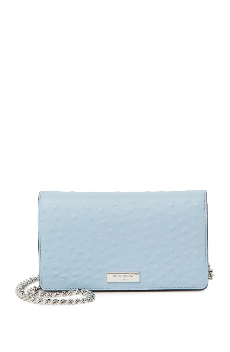 KATE SPADE NEW YORK crossbody ostrich embossed wallet, Main, color, BLUEDAWN