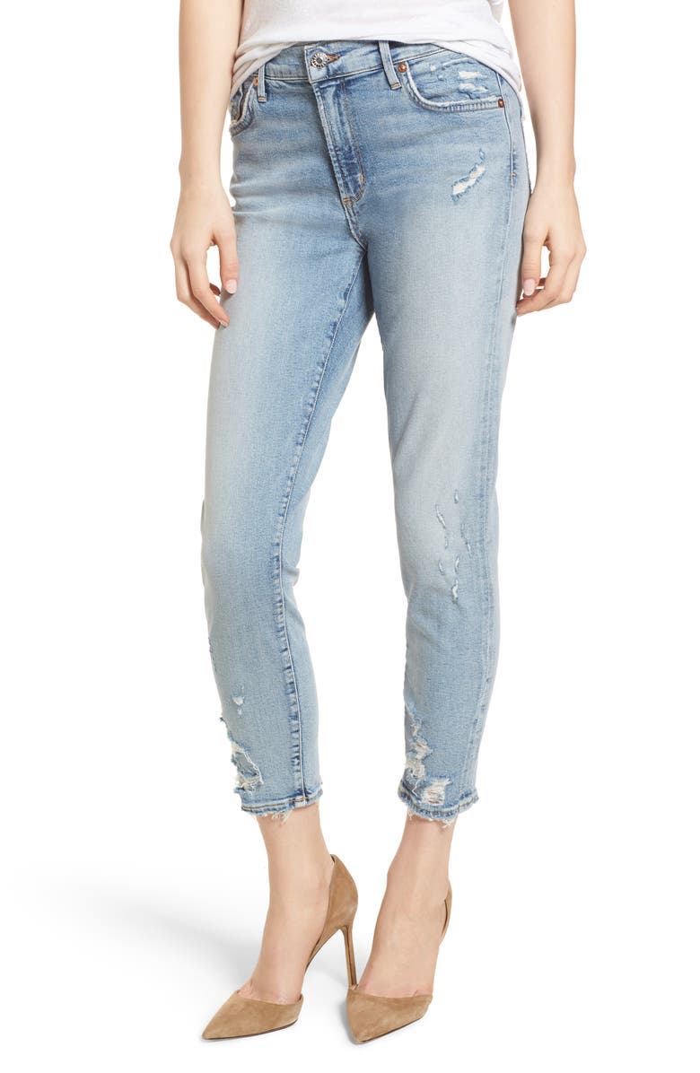 AGOLDE Sophie Distressed High Waist Crop Skinny Jeans, Main, color, 476
