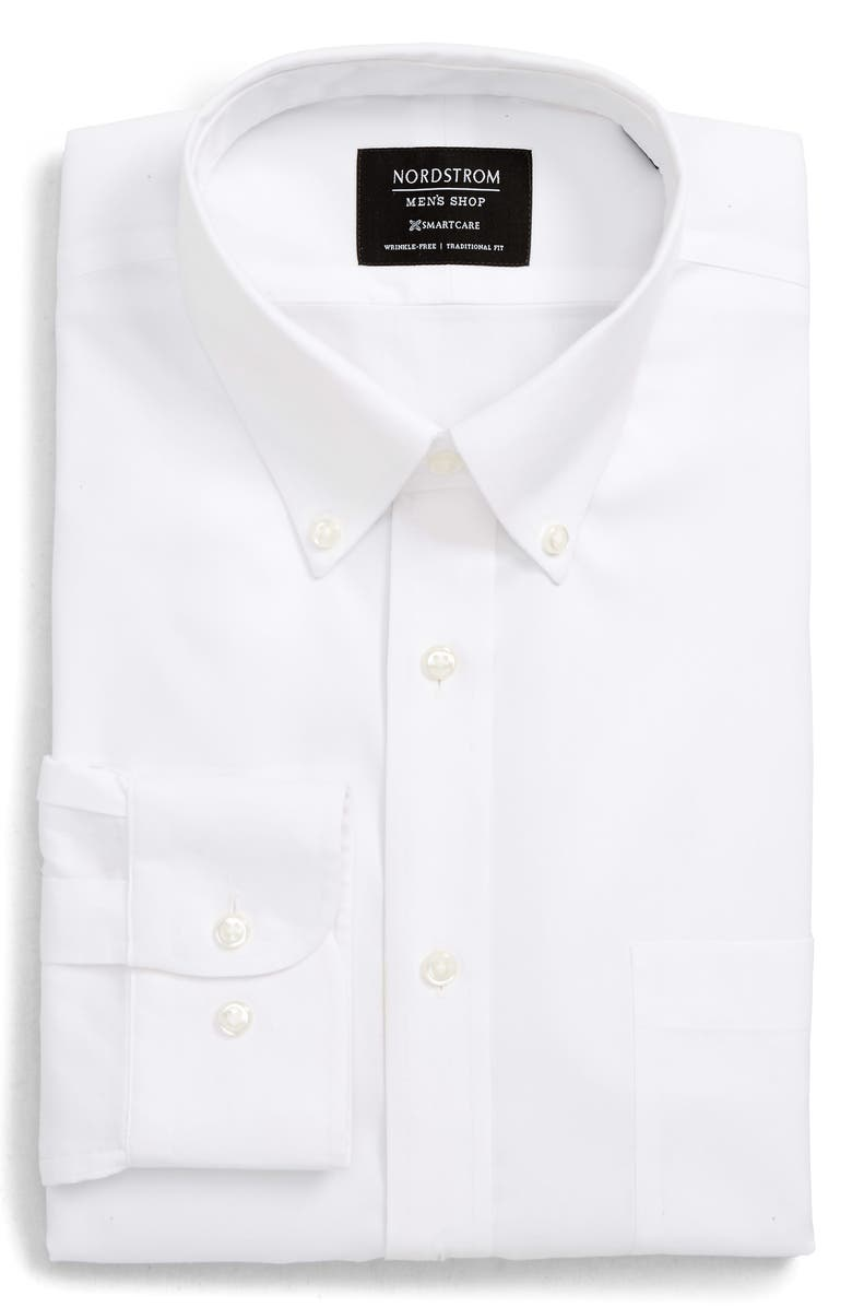 NORDSTROM MEN'S SHOP Smartcare<sup>™</sup> Traditional Fit Pinpoint Dress Shirt, Main, color, WHITE BRILLIANT