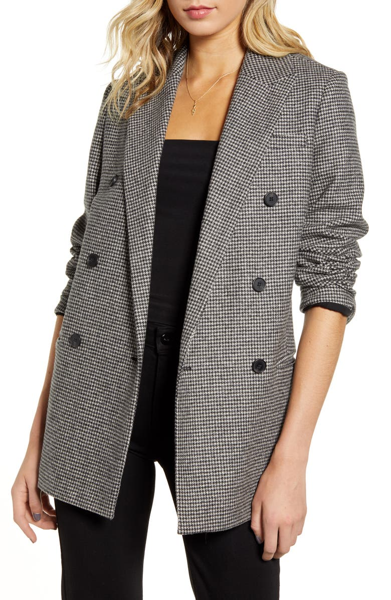 ALLSAINTS Astrid Puppytooth Check Double Breasted Wool Blend Blazer, Main, color, 020