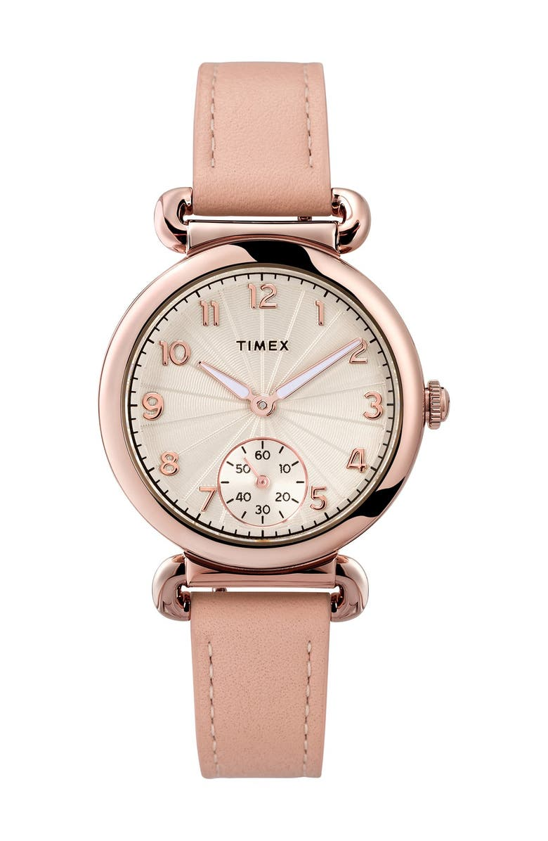 TIMEX Women's Model 23 Leather Strap Watch, 33mm, Main, color, ROSE/SILVER/PINK