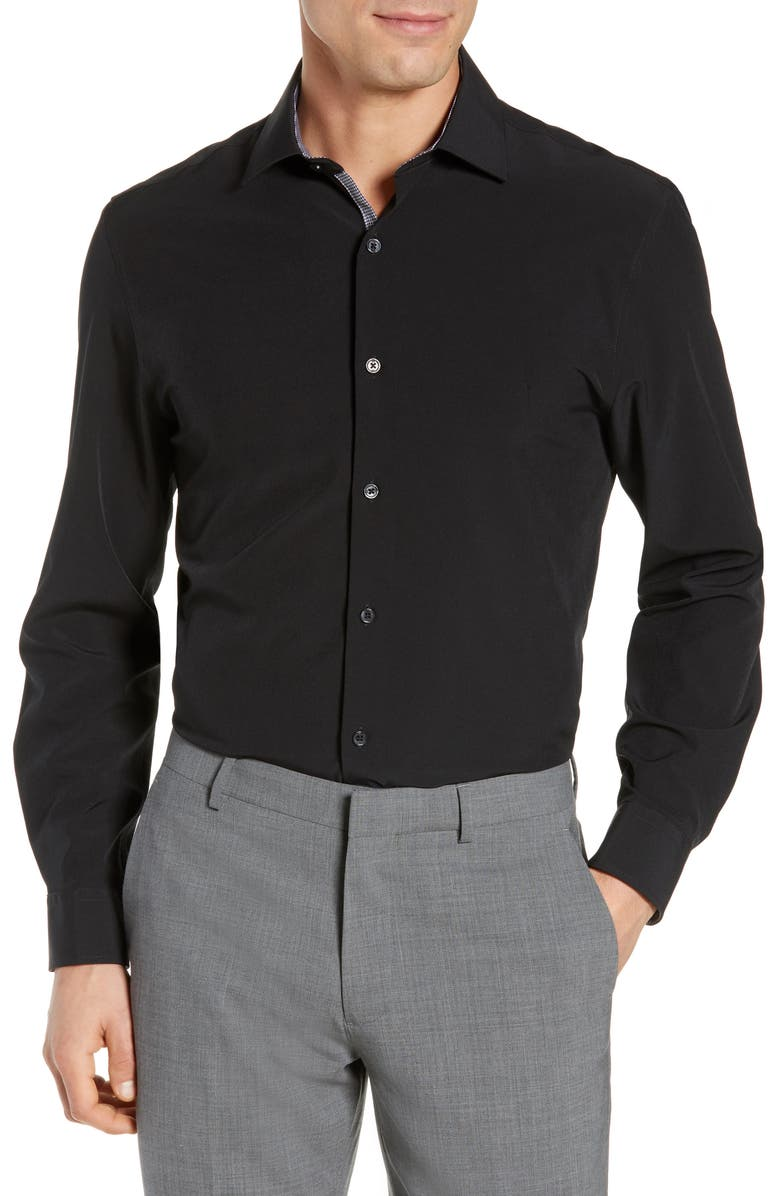 W.R.K Trim Fit Solid Performance Stretch Dress Shirt, Main, color, BLACK