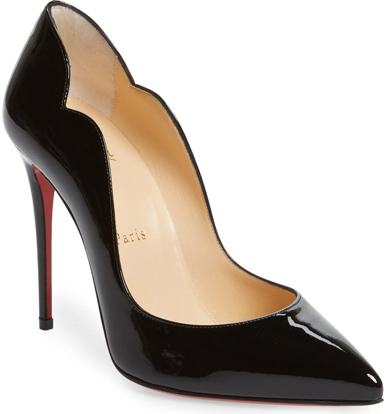 CHRISTIAN LOUBOUTIN Hot Chick Scallop Pointed Toe Pump, Main, color, BLACK PATENT