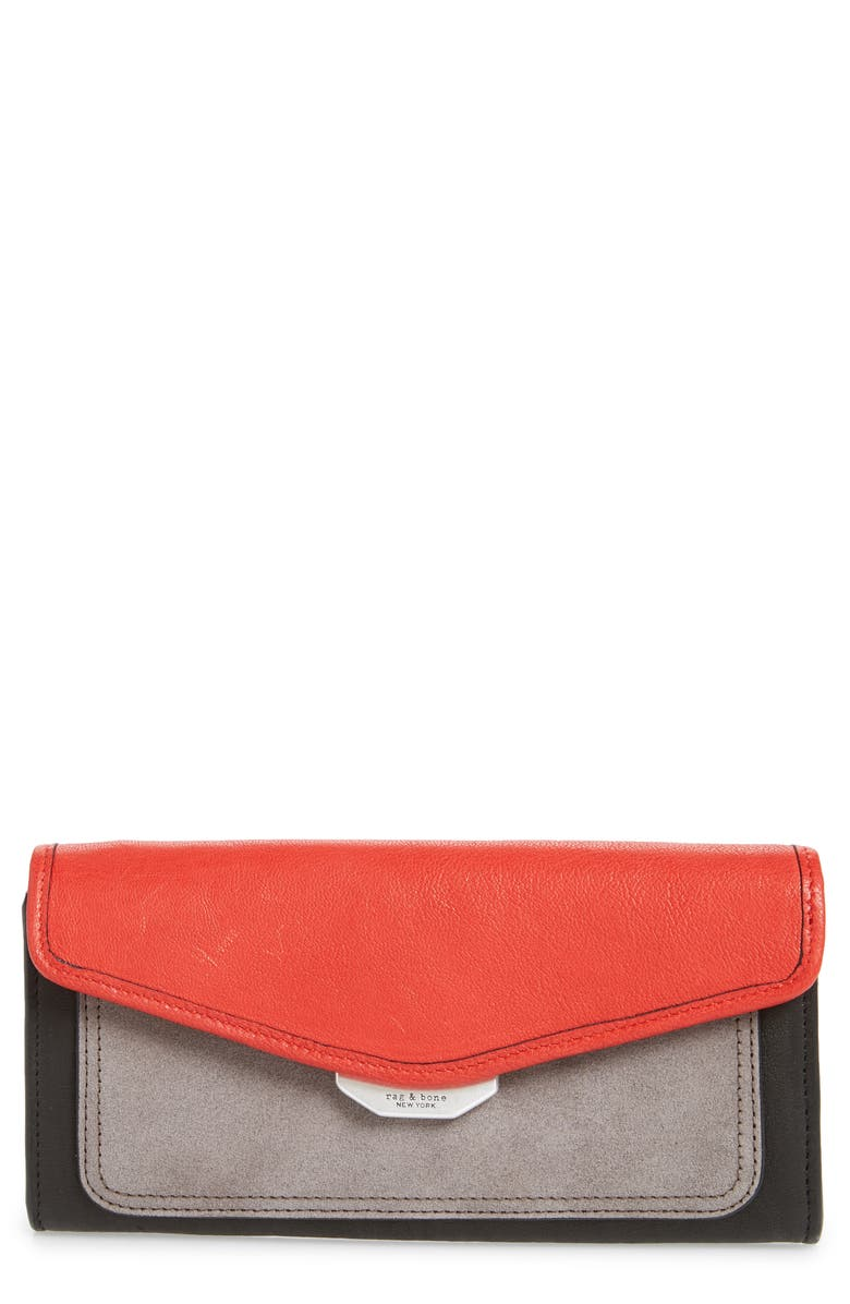 RAG & BONE Field Leather Continental Wallet, Main, color, 001