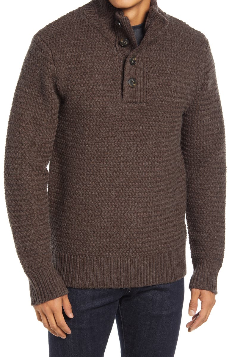 SCHOTT NYC Military Henley Sweater, Main, color, COFFEE
