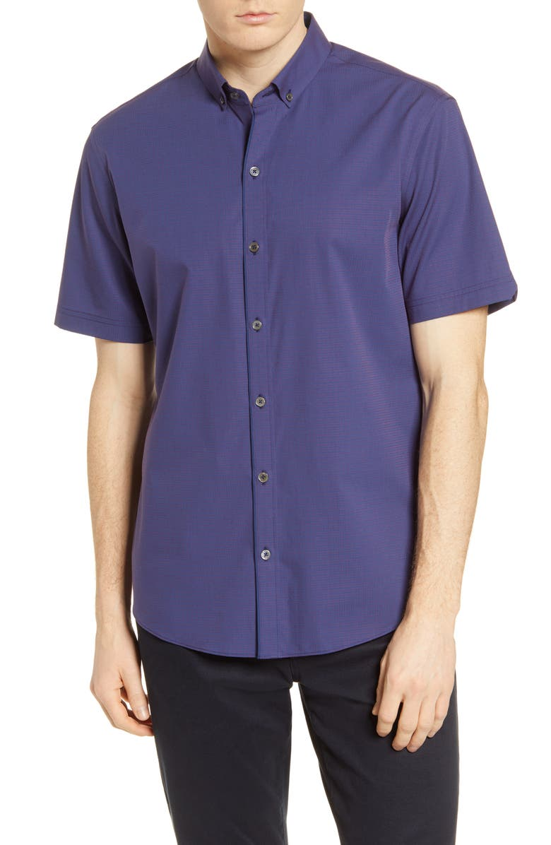 ZACHARY PRELL Classic Fit Dobby Short Sleeve Button-Down Shirt, Main, color, 500