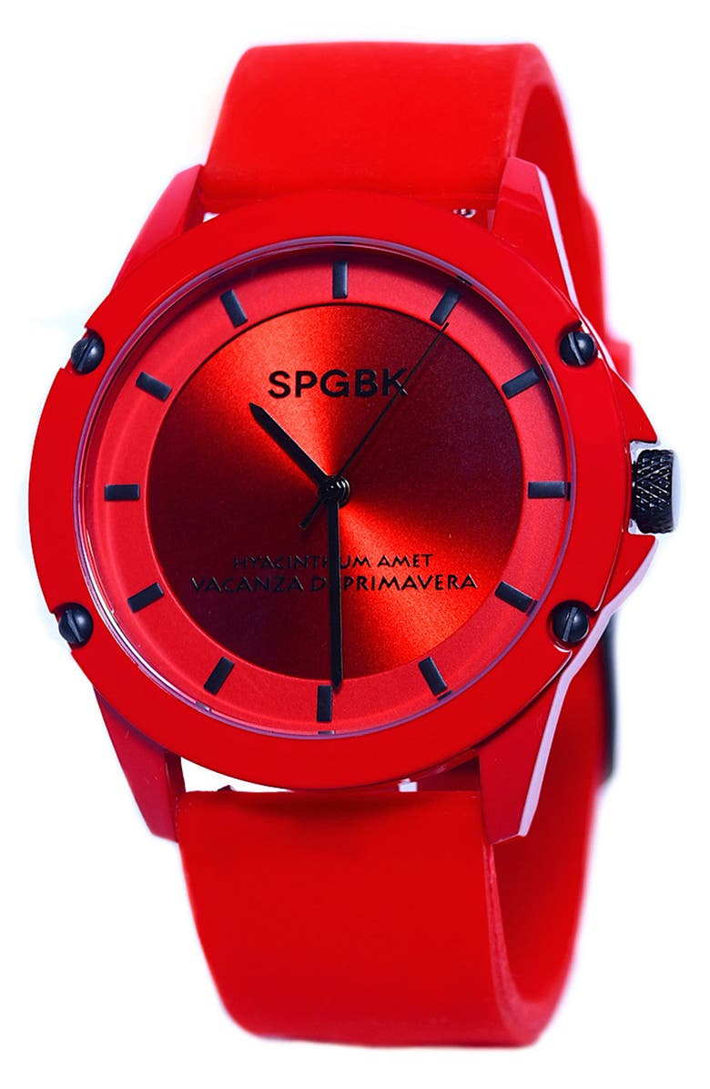 SPGBK WATCHES Foxfire Silicone Band Watch, 44mm, Main, color, RED