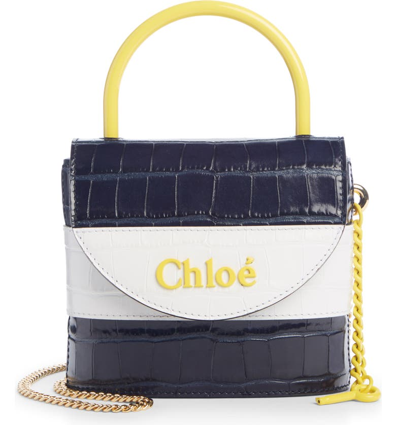 CHLOÉ Small Aby Lock Croc Embossed Leather Shoulder Bag, Main, color, 401