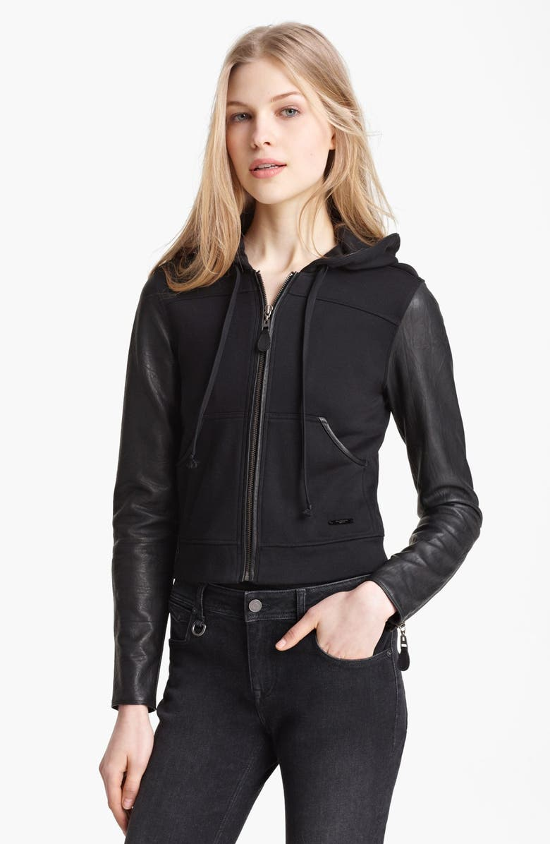 BURBERRY BRIT Leather Sleeve Hoodie, Main, color, 001