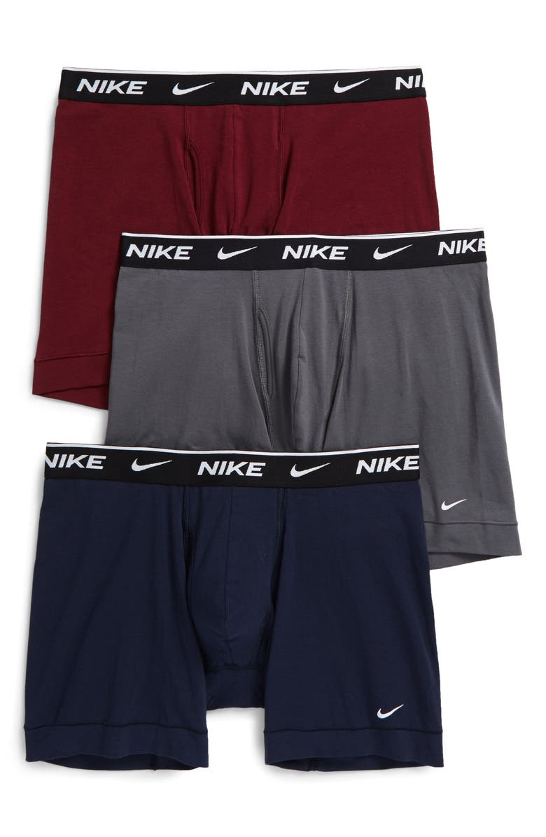 NIKE Dri-FIT Everyday Assorted 3-Pack Performance Boxer Briefs, Main, color, GREY/ BEETROOT/ NAVY