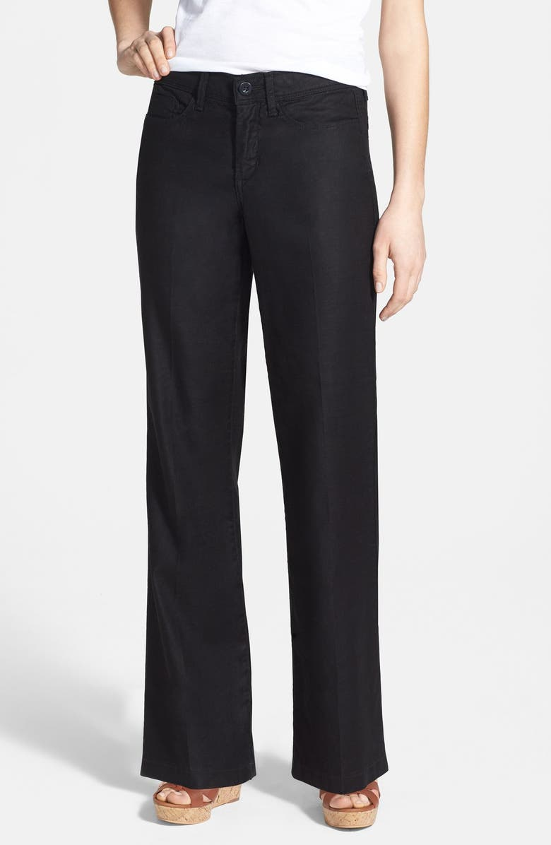 NYDJ Wylie Five-Pocket Linen Trousers, Main, color, 001