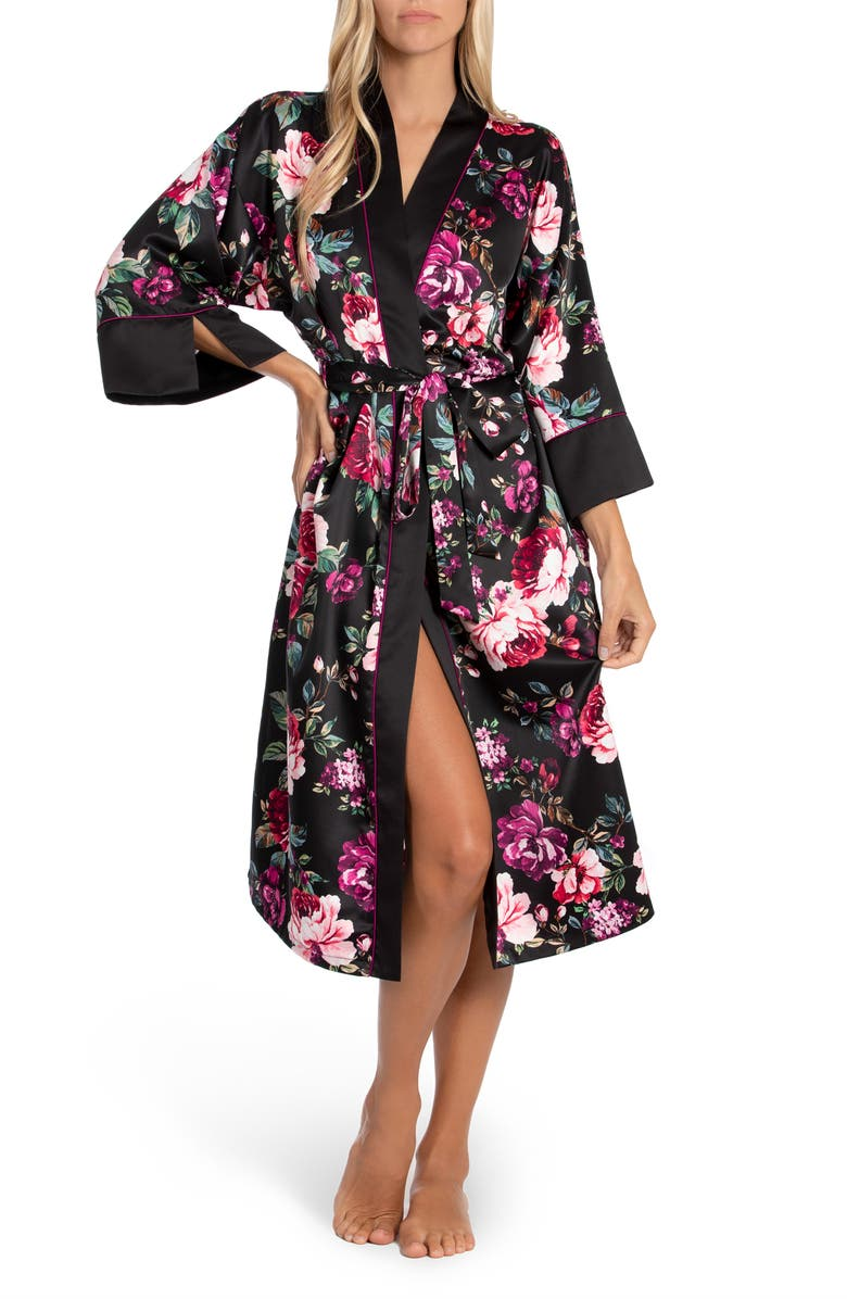 IN BLOOM BY JONQUIL Winter Garden Robe, Main, color, BLACK
