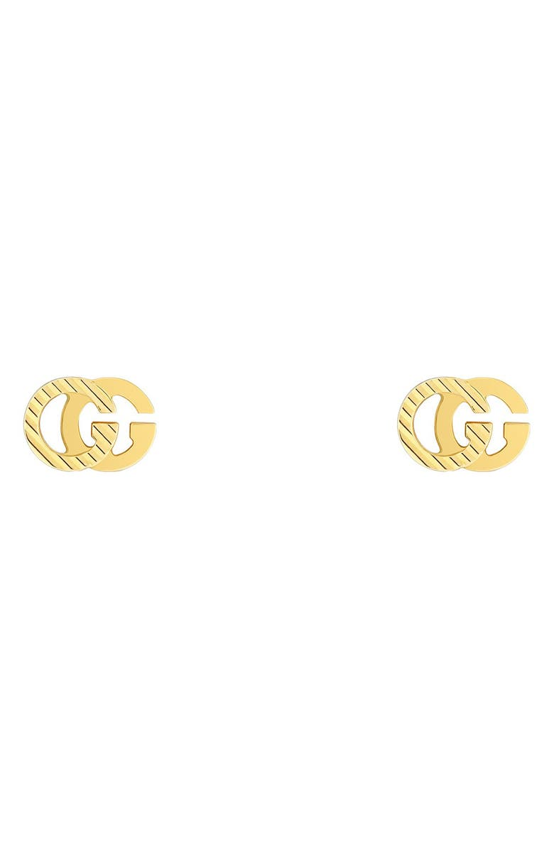 GUCCI Running G 18K Gold Stud Earrings, Main, color, YELLOW GOLD