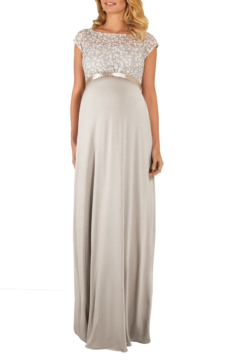 TIFFANY ROSE Mia Lace & Jersey Maternity Gown, Main, color, Silver