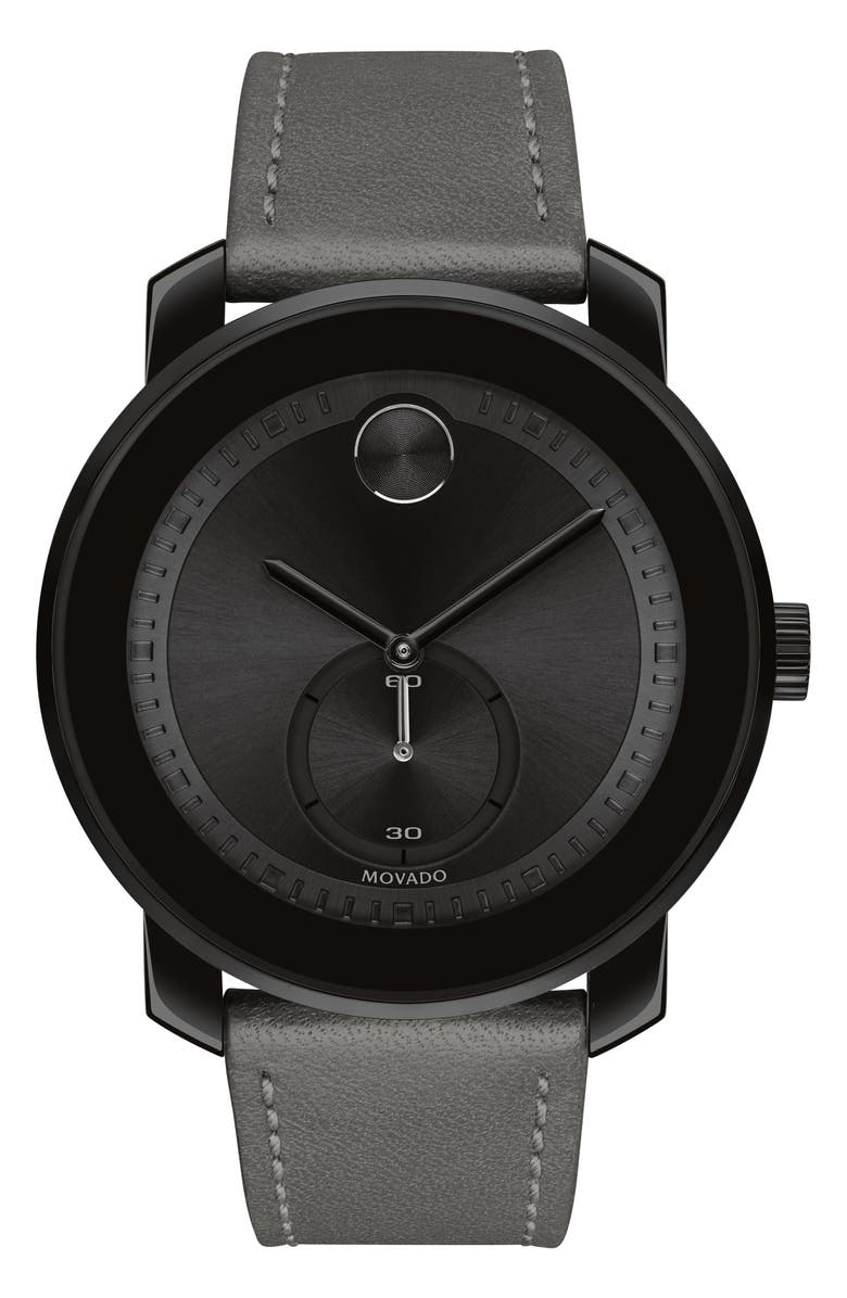 MOVADO Bold Leather Strap Sport Watch, 44.5mm, Main, color, BLACK