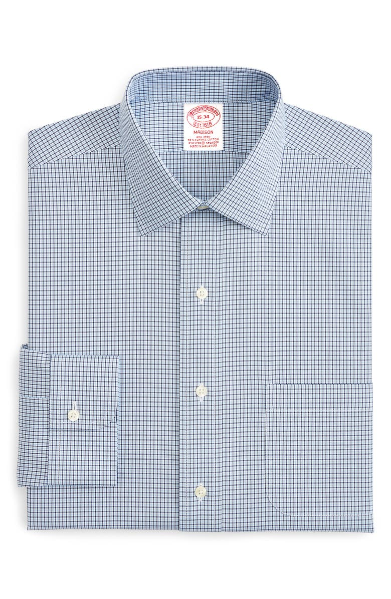 BROOKS BROTHERS Madison Classic Fit Stretch Plaid Dress Shirt, Main, color, 400