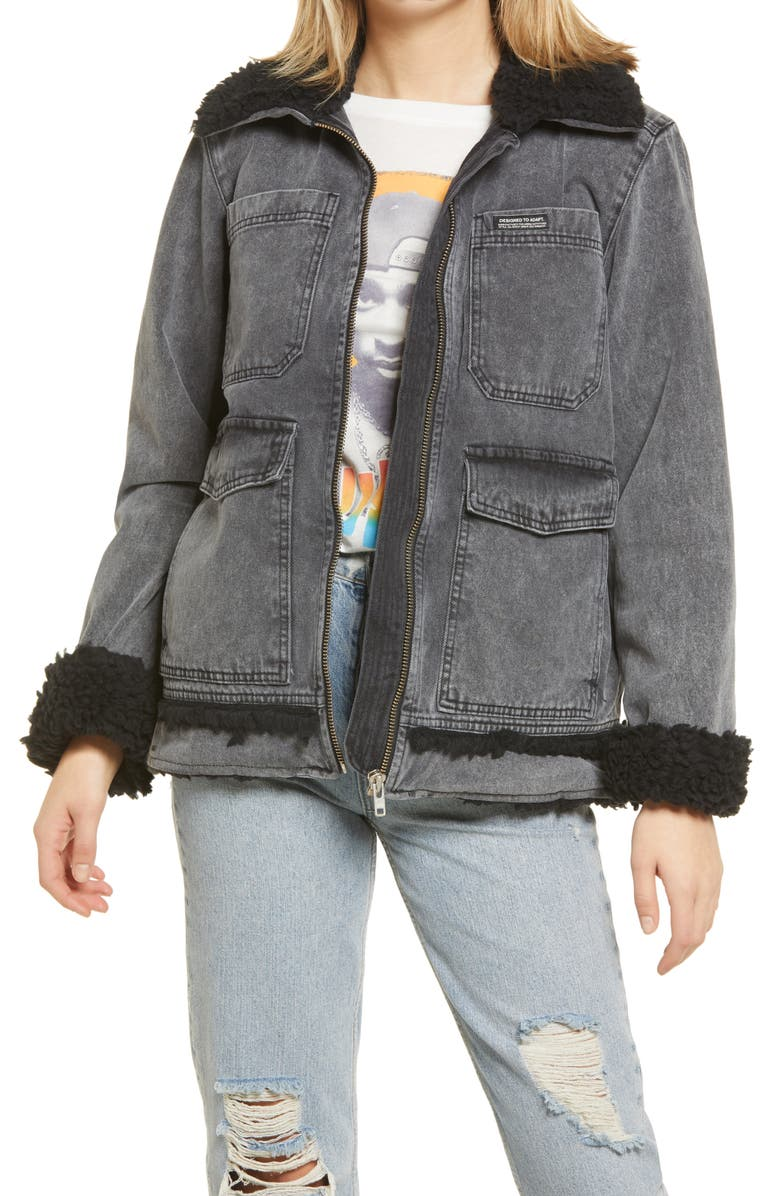 BDG URBAN OUTFITTERS Fleece Lined Utility Jacket, Main, color, BLACK