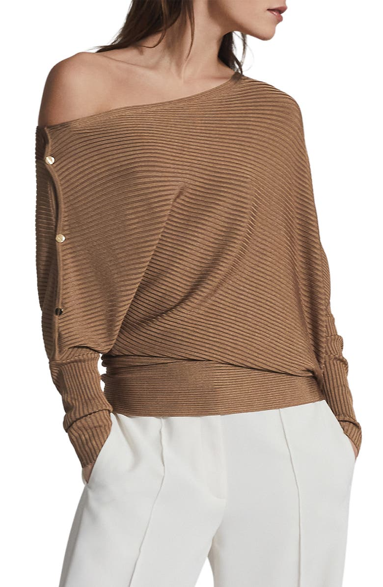 REISS Bloor Ribbed One-Shoulder Sweater, Main, color, CAMEL